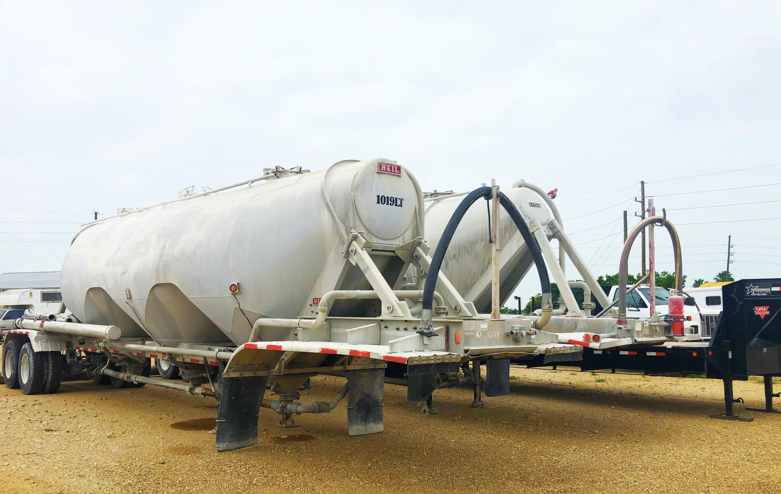 hoppers and trailer